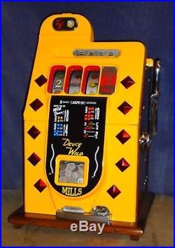 Mills 5-cent DEUCES WILD Diamond Front antique slot machine, 1941