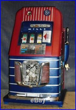 Mills 5-cent JEWEL BELL hi-top antique slot machine, 1946