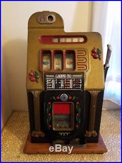 Mills Antique 25 cent Golden Falls Slot Machine with Keys