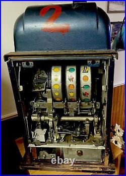 Mills Antique Casino 5 Cent Metal Special Award 777 Slot Machine Rare