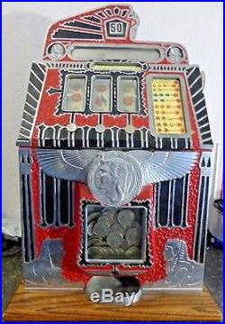 Mills Antique Egyptian Bell Slot Machine RARE 50 CENT