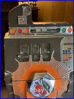 Mills Bursting Cherry 25 cent Slot Machine Beautiful Needs Restoration