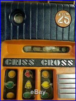 Mills Criss Cross 25 Cent Hi-top Antique Slot Machine Coin Op Restored Look