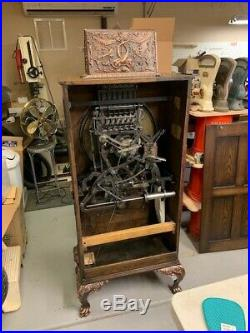 Mills Dewey 5 cent Upright Slot Machine Circa 1898 with 1/4 sawn Oak cabinet