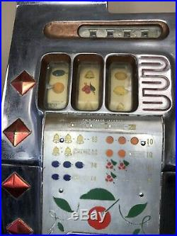 Mills Diamond Front 5 Cent Chrome Faced Antique Slot Machine With Jackpot