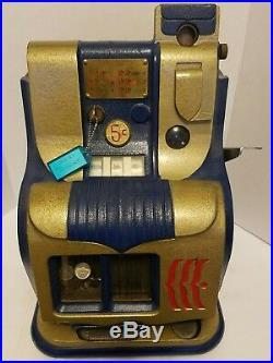 Mills Hash mark QT Slot Machine 5 Cent Mills Key