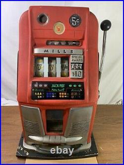 Mills HighTop 5 Five Cent 3 777's Antique Mechanical Slot Machine High Top