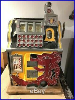 Mills Lion Head 5 Five Cent Mechanical Slot Machine Antique Complete