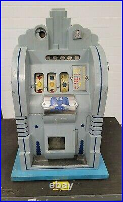 Mills Novelty 5 Cent Coin Slot Machine Eagle Jackpot Blue Gray Antique AS IS