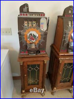 Mills Novelty Company 1-Cent Brown Front Slot Machine and Ornate Stand