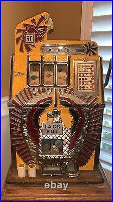 Mills War Eagle RARE 50 Cent Antique Slot Machine-Watch The Video-authentic