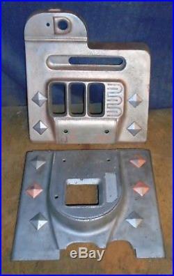 Mills cast iron DIAMONDFRONT antique slot machine upper & lower castings