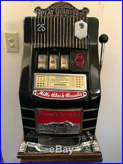 ORIGINAL 1930's 25¢ Mills Black Beauty Brooklands Car Slot Machine coin op