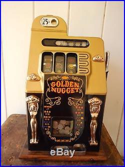 ORIGINAL 1940's 25¢ Mills Antique Slot Machine. It is the Golden Nugget model
