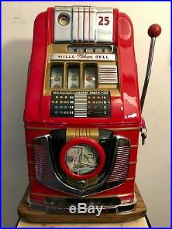 ORIGINAL 1940's 25¢ Mills Token Bell Antique Slot Machine coin op