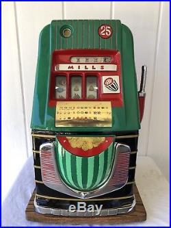 ORIGINAL 1940's 25¢ Mills Water Melon High Top Antique Slot Machine