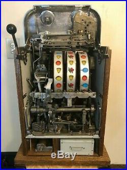 ORIGINAL 1940's 5¢ Mills Antique Chrome Hi Top Slot Machine coin op