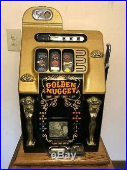 ORIGINAL 1940's 5¢ Mills Antique Slot Machine. It is the Golden Nugget coin op