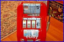 ORIGINAL 1940's 5¢ Mills Antique Slot Machine coin op- Restored