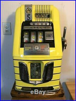 ORIGINAL 1940's 5¢ Mills bonus Antique Slot Machine coin op