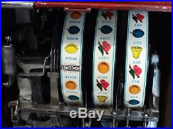 Old Antique PACE COMET 5c Cent 3 Reel Manual SLOT MACHINE Casino -WORKS