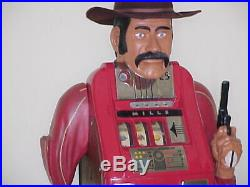 One Armed Bandit Antique Mills 25 cent Hi Top Slot Machine in wood carving