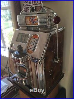 One Cent Nevada Club Jennings Antique Slot Machine
