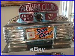 One Cent Nevada Club Jennings Antique Slot Machine RARE