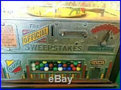 Original 1930's Rockola Sweepstakes Penny Machine with Gum Feature working