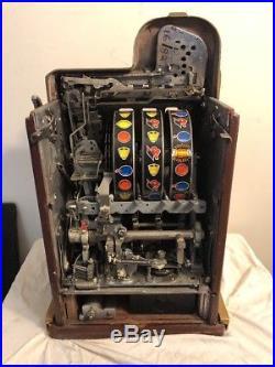 Original Antique Mills 5c Extrabell Golden Nugget slot machine, Unrestored