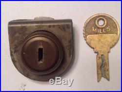 Original Antique Mills Qt Back Lock And Key Matching # 8