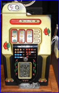 Original Antique Mills Wild Cherry Nickel Slot Machine, Working WithKeys