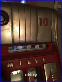 Original Mills Slot Machine 10 Cent Unrestored Hotel Fremont Casino Working&key