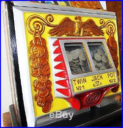 Quarter Watling Rol-a-top Slot Machine, Gold Coin Front, Fully Restored In & Out