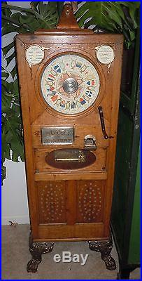 Rare 1897 Caille Bros. THE RELIABLE Upright Musical Coin Operated Slot Machine