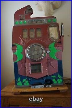 Rare Antique Coin Operated Slot Machine Mills Bursting Cherry 50 Cent Org. Keys
