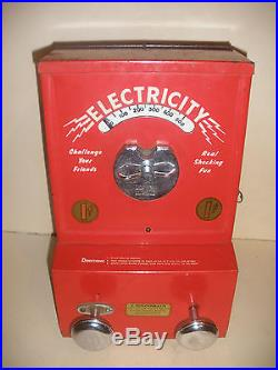 Rare Antique J Schoenbach electricity shock machine 1c coin operated works