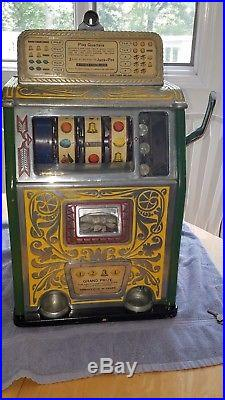 Rare Caille Superior Bell 25 Cent Jackpot Four Reel Grand Prize Slot Machine