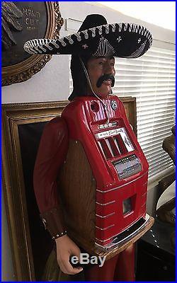 Rare Life-Size 25 Cent Mills Black Beauty Bandito Mexican Slot Machine