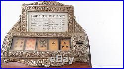 Rare Oak Caille Brothers Cigar Slot Machine or Good Luck Trade Simulator