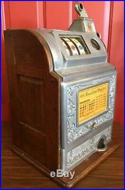 Rare Vintage OD Jennings Nickle Dutch Boy Slot Machine / Five Cent