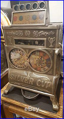 Slot Machine Caille Silver Cup Cast Iron coin op