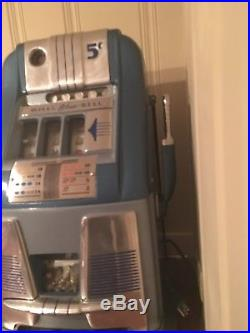 Slot Machine Rare Cast Iron Blue Bell 5Cent, Working / Totally Restored