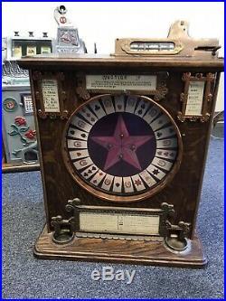 Super Rare 1896 DN Schall Horseshoe Gaming Wheel Slot Machine