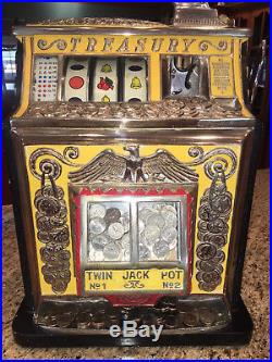 Treasury Slot Machine Rare 25 cent coin op vending casino