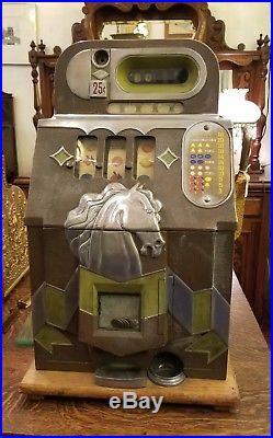 Twenty-five Cent B O N U S Mills HORSEHEAD slot machine BONUS 1930's