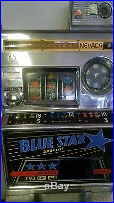 VINTAGE ARISTOCRAT BLUE STAR SPECIAL10 CENT COIN OP SLOT MACHINE With JACKPOT