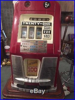 VINTAGE MILLS HI TOP SLOT MACHINE 5 CENT ONE ARMED BANDIT 1949 special award 777