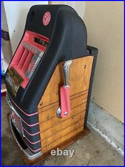 VTG Antique Deco Mills 5 Cent Nickel High Top Slot Machine Circus DISPLAY AS IS
