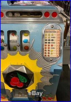 VTG Mills 25 cents Bursting Cherry Antique Slot Machine 1930s w KEYS, WORKS